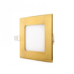 Square LED Slimline Downlight 120x120 mm 6W 480Lm 50.000H Gold Finish
